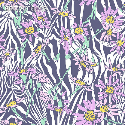 Seamless vector floral pattern. Flowers field on zebra print. Trendy animal motif with chamomiles wallpaper. Fashionable background for fabric, textile, design, banner, cover.