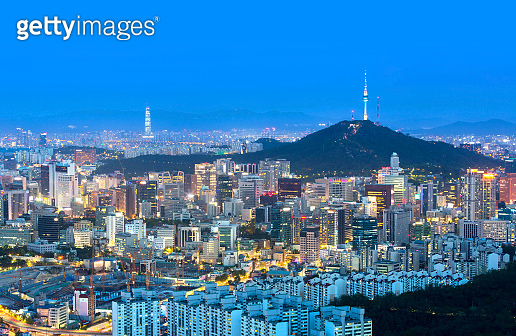 Seoul city and n seoul tower and Skyscrapers, Beautiful city at night, South Korea.