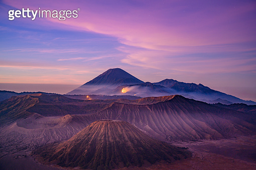 Sunrise at the Bromo volcano mountain in Indonesia