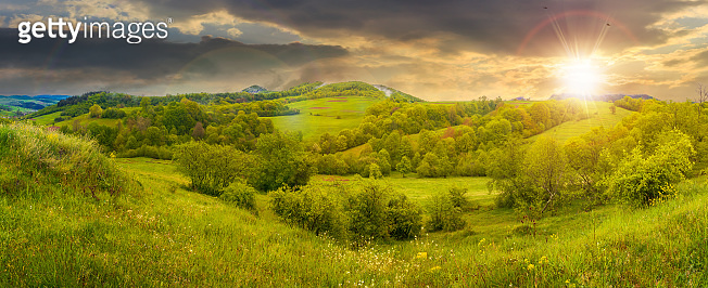 beautiful countryside panorama at sunset