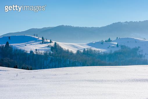 mountainous countryside in wintertime