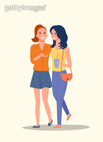Young girlfriends isolated. Vector flat style illustration