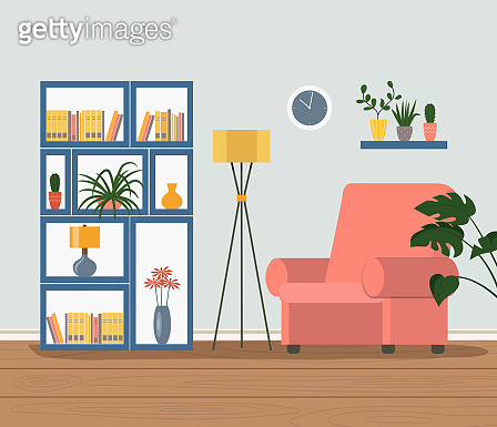 Comfortable chair, bookcase and house plants. Vector flat illustration