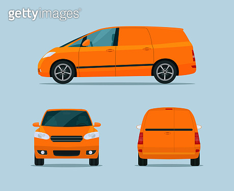 Cargo minivan set. Ð¡argo minivan with side, front and back view. Vector flat style illustration.