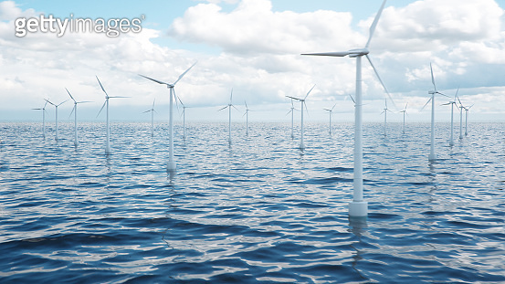 Wind farm turbines caught in sunlight sky. Beautiful contrast with the blue sea. ecological concept, 3d illustration