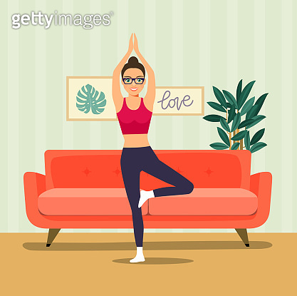 Young woman in yoga tree pose in the room. Vector flat illustration