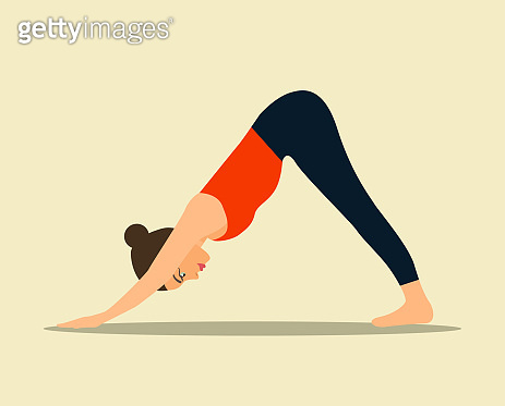 Young woman in yoga dog pose isolated. Vector flat illustration