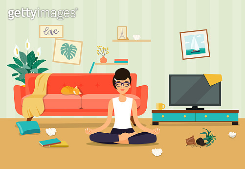 Messy living room interior.  Young woman in yoga pose, lotus position.  Flat style vector illustration