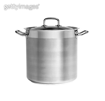 Big stainless steel pan isolated on white background. Side view.