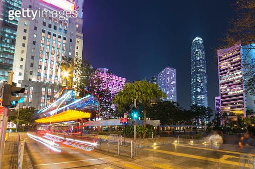 downtown district of Hong Kong city at night