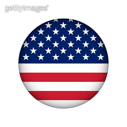 Vector circle illustration for badge with american flag. Stars and stripes