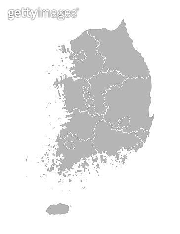 Vector isolated illustration of simplified administrative map of South Korea (Republic of Korea). Borders of the provinces (regions). Grey silhouettes. White outline