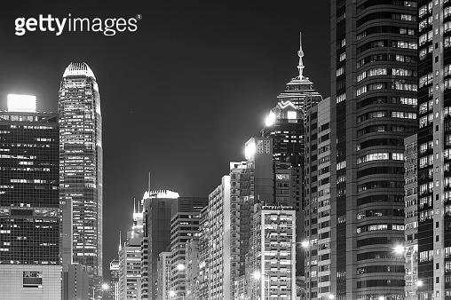Skyline of downtown district of Hong Kong city