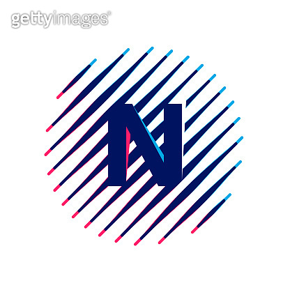 N letter logo on sloping fast speed lines inside a circle.