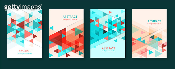 Abstract colorful geometric triangular backgrounds. brochure design templates collection with colorful geometric triangular backgrounds. vector modern flyer.