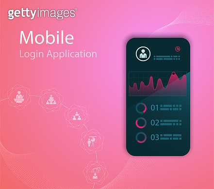 Vector Media technology illustration with mobile phone and icons.Login Application with finger print Form Window.Vector EPS 10