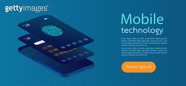 Mobile screens modern infographic. Diagram template and chart graph. Flat web icons for mobile apps, 3d isometric flat design. Vector illustration.