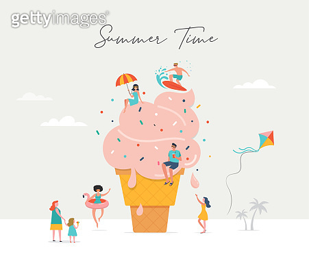 Summer scene, group of people, family and friends having fun against the huge ice cream, surfung, swimming in the pool, drinking cold beverage, playing on the beach