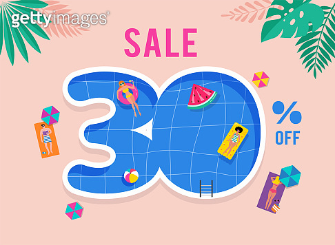 Hot Summer Sale. Vector template with top view on the swimming pool. Background and banner with miniature people swimming and having fun