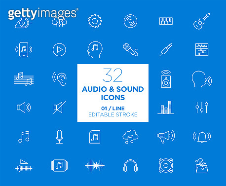 Set of Audio and Sound white icons in line