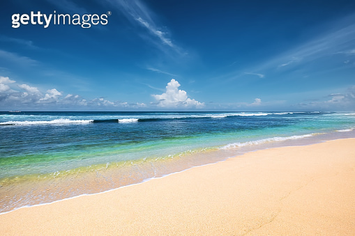 Seascape at the day time. Turquoise water background in the summer. Sea and beach. Nusa Penida, Bali, Indonesia. Travel - image