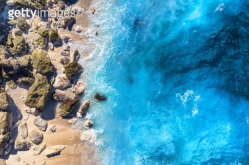 Coast as a background from top view. Turquoise water background from top view. Summer seascape from air. Travel - image