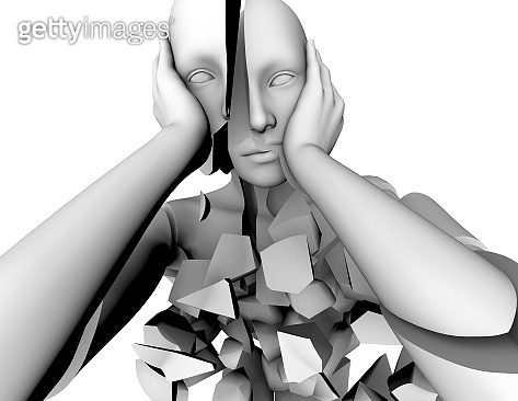 Mental illness, emotional stress and bipolar disorder 3d concept illustration.