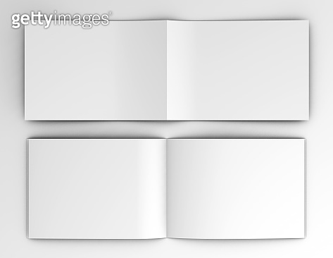 Landscape brochures, catalogues mockup open blank inside and cover pages 3d illustration.