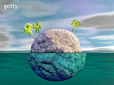Environmental change, drought and floods concept with planet earth under water 3d illustration.