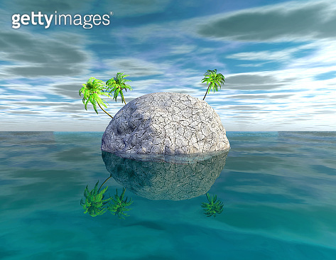 Climate warming and environmental catastrophe concept 3d illustration.