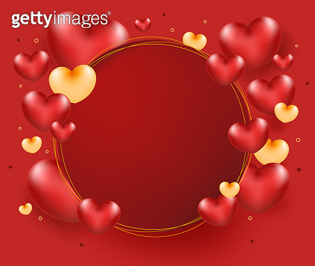 Heart balloons on circle frame for add text. Love concept.
