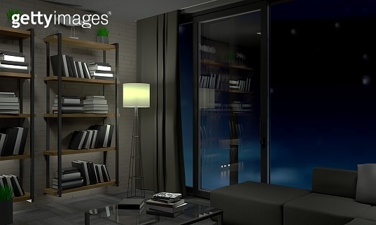 Modern loft apartments at night