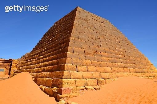 Meroe pyramids - Nubian tombs in the Sahara desert - UNESCO World Heritage Site, Begarawiyah, Sudan - pyramid N5, Prince Arikhankharer, son of Amanitore