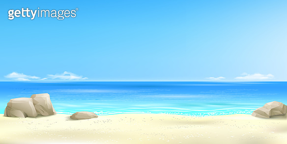 Wide tropical beach banner background