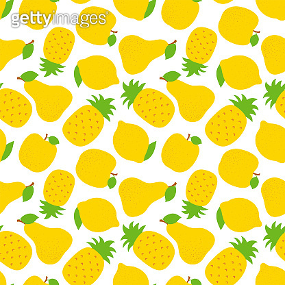 Exotic fruit seamless pattern. Sweet pineapple, pear and apple. Yellow lemon. Fashion design. Food print for dress, textile, curtain or linens. Hand drawn vector sketch background. Vegan menu