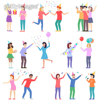 Happy people at the party set. Celebration event, birthday, New Year. Friends together present a gifts, treat with cake, dance and sing, take a joint selfie.