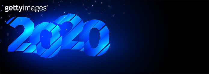 2020 glowing blue creative happy new year banner design