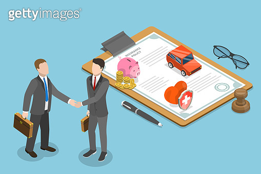 Isometric flat vector concept of insurance deal, policy, healthcare.