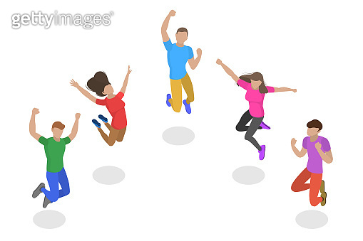 Isometric flat vector concept of jumping happy people, team success.