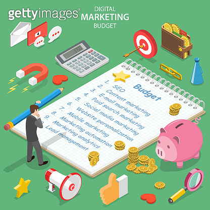 Flat isometric vector concept of digital marketing budget, seo, roi.