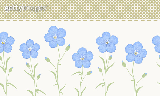 Seamless border with blue flowers and green leaves on a beige background