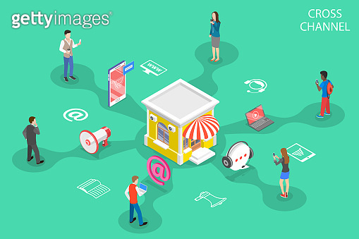 Isometric flat vector concept of cross channel, omnichannel.