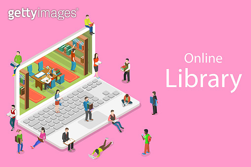 Isometric flat vector concept of online library, education, reading.