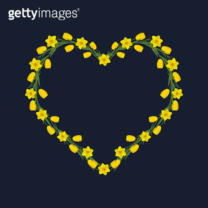 Floral frame in the shape of a heart on a dark blue background