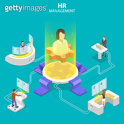 Isometric flat vector concept of headhunting, recruitment, HR manager review.