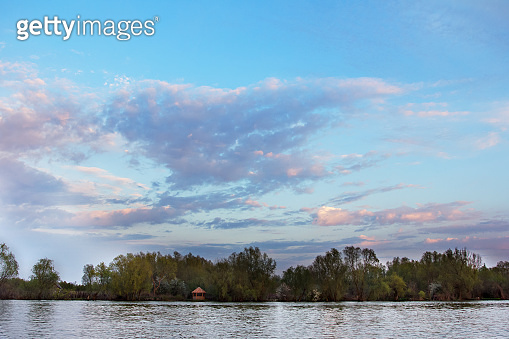 Landscape on the Danube River. Danube River. Beautiful sky and river.