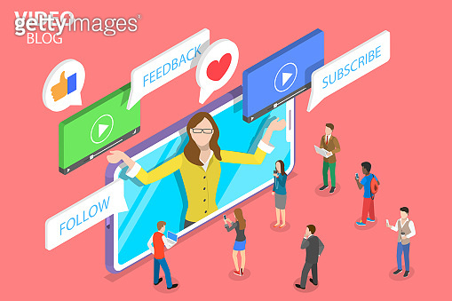 Flat isometric vector concept of vlog, video blog, online channel.