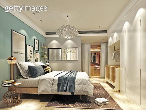 3d render. Luxury hotel bedroom interior.