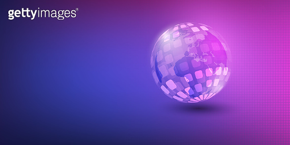 Abstract Purple Earth Globe Design Layout