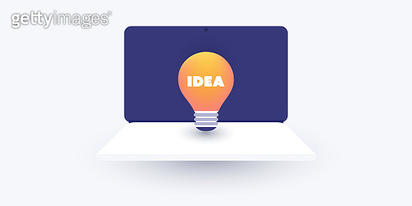 Technological Ideas, Inspiration, Invention Design Concept with Laptop Computer and Lightbulb